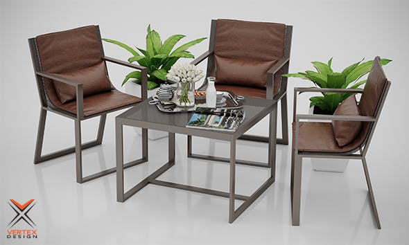 Outdoor Chair and Table Set - 3DOcean Item for Sale