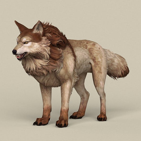 Game Ready Brown Wolf - 3DOcean Item for Sale