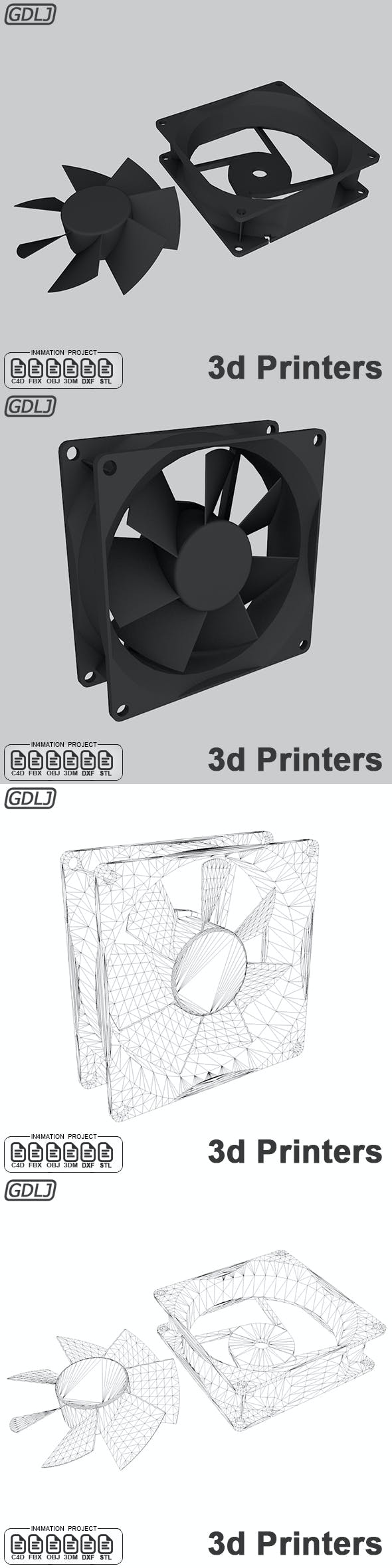 Fan PC with STL 3d printer - 3DOcean Item for Sale