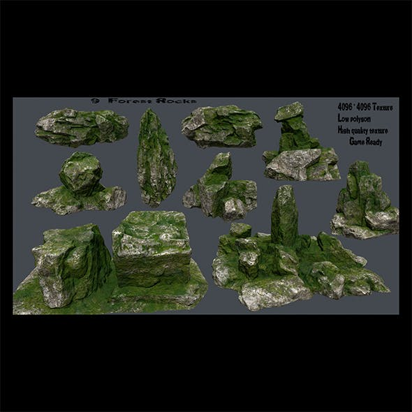 mossy rocks - 3DOcean Item for Sale