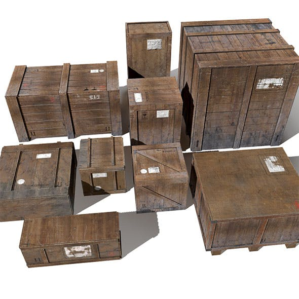 Transport crates Pack1 PBR - 3DOcean Item for Sale