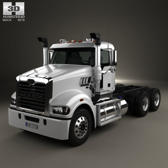 Mack Trident Axle Forward Day Cab Chassis Truck 2008 - 3DOcean Item for Sale