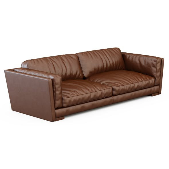 Brown leather sofa - 3DOcean Item for Sale