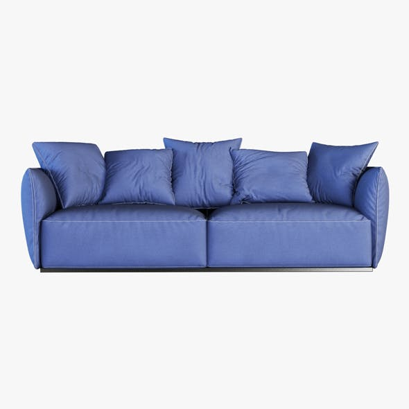 Blue fabric sofa - 3DOcean Item for Sale