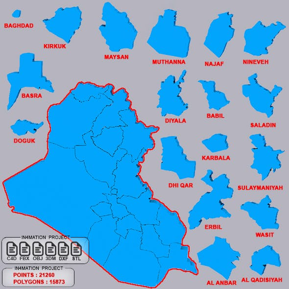 Map Iraq with 18 Separate Provinces