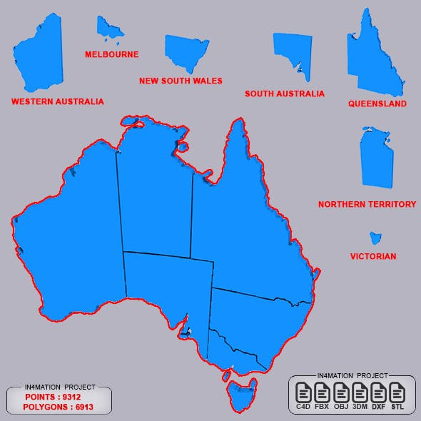 Map Australia with separate provinces