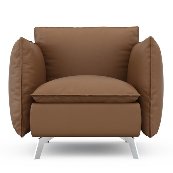 Leather brown armchair - 3DOcean Item for Sale