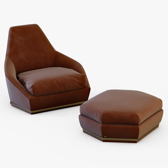 Armchair and pouf - 3DOcean Item for Sale