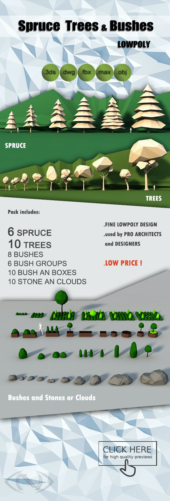 Lowpoly Trees Spruce Bushes Stones Pack - 3DOcean Item for Sale