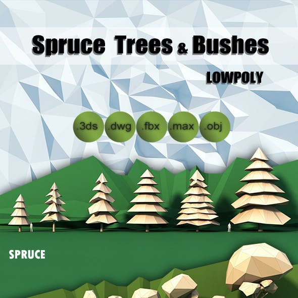 Lowpoly Trees Spruce Bushes Stones Pack