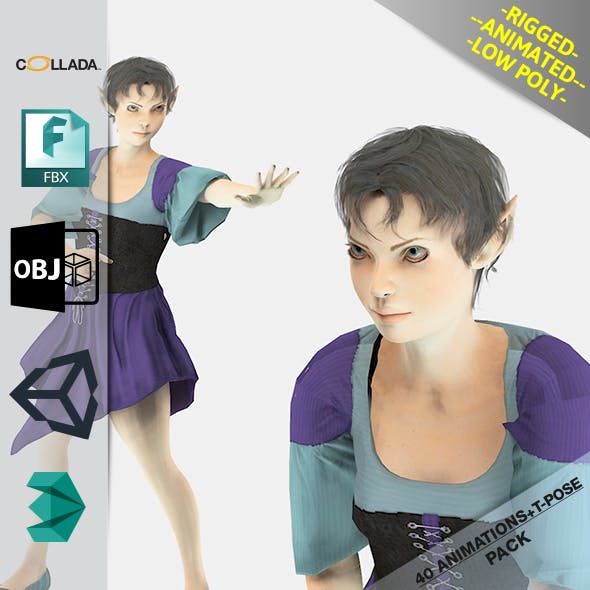 Elf Woman1 Animated Pack - 3DOcean Item for Sale