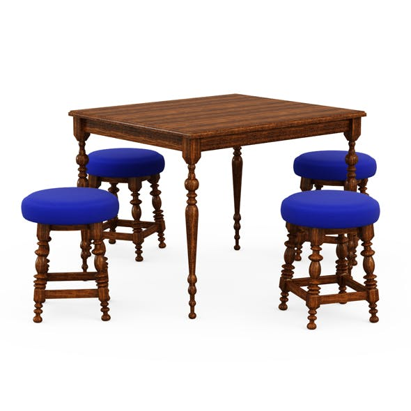 Bar table and chairs - 3DOcean Item for Sale
