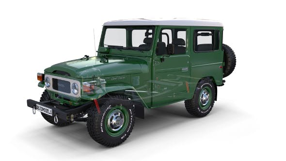 Toyota Land Cruiser FJ 40 Green with Interior and Chassis - 3DOcean Item for Sale