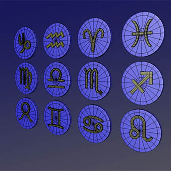 Horoscope Zodiac Icons 3D Model