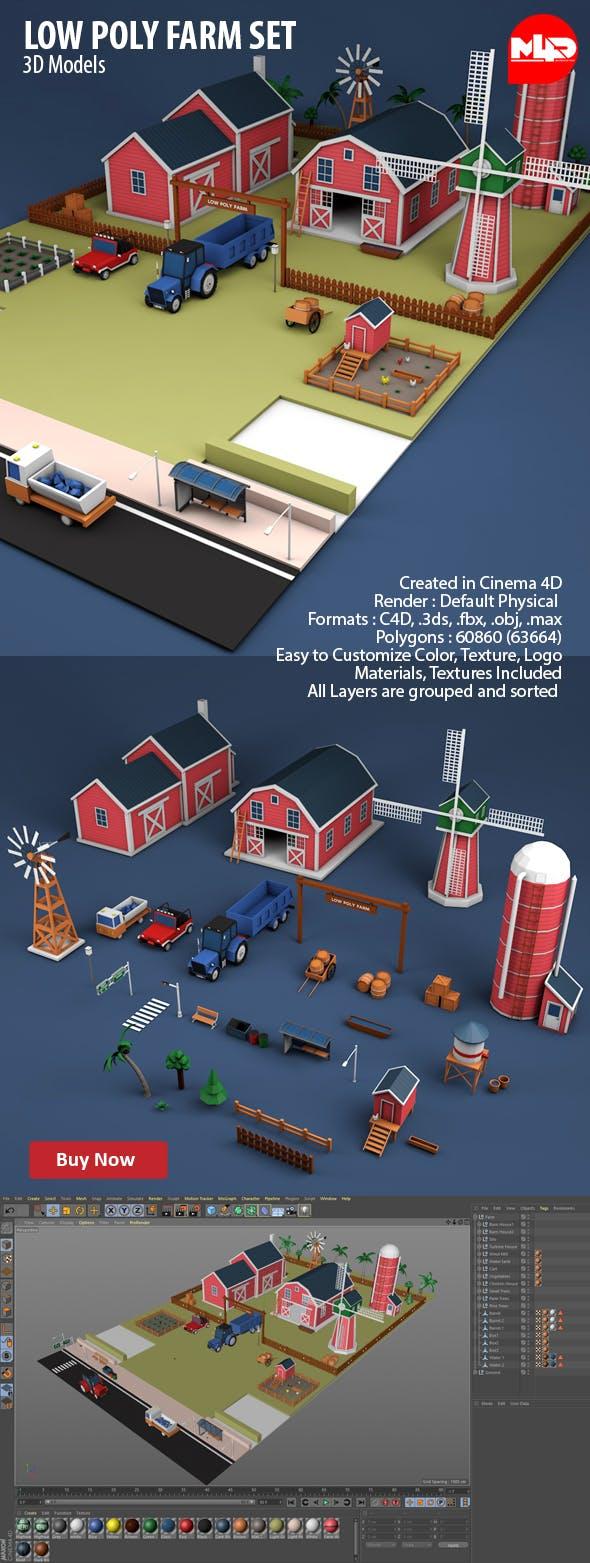 Low Poly Farm Set - 3DOcean Item for Sale