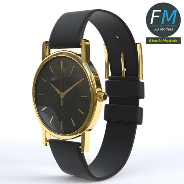 Wrist Watch with Leather Watchstrap - 3DOcean Item for Sale
