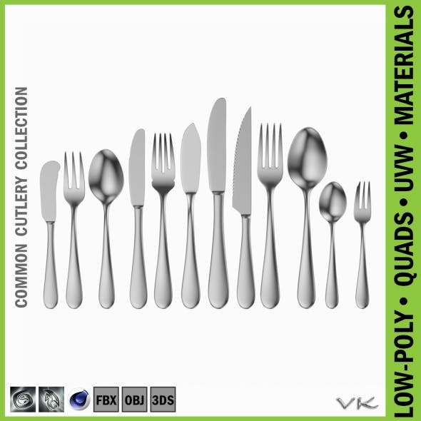 Common Cutlery Set 12 Pieces - 3DOcean Item for Sale
