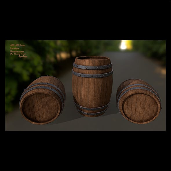Wood_Barrel 2 - 3DOcean Item for Sale