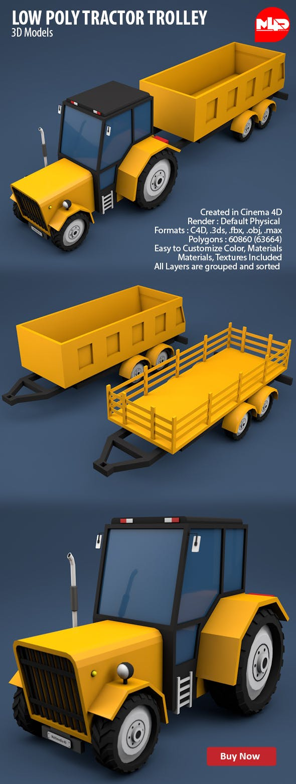 Low Poly Tractor Trolley - 3DOcean Item for Sale