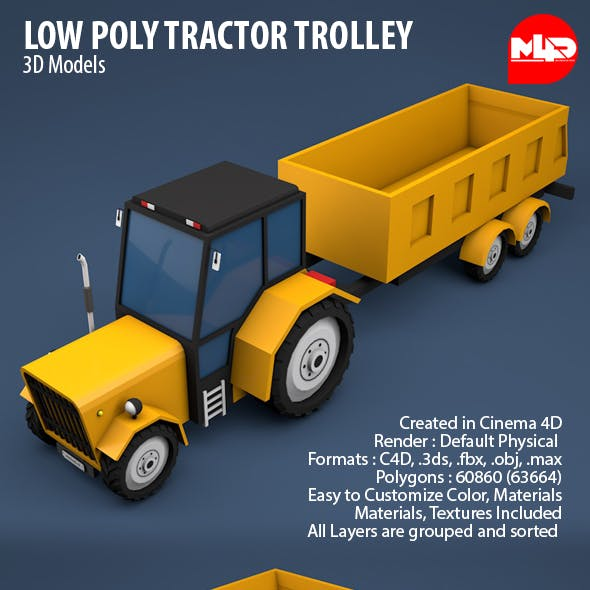 Low Poly Tractor Trolley