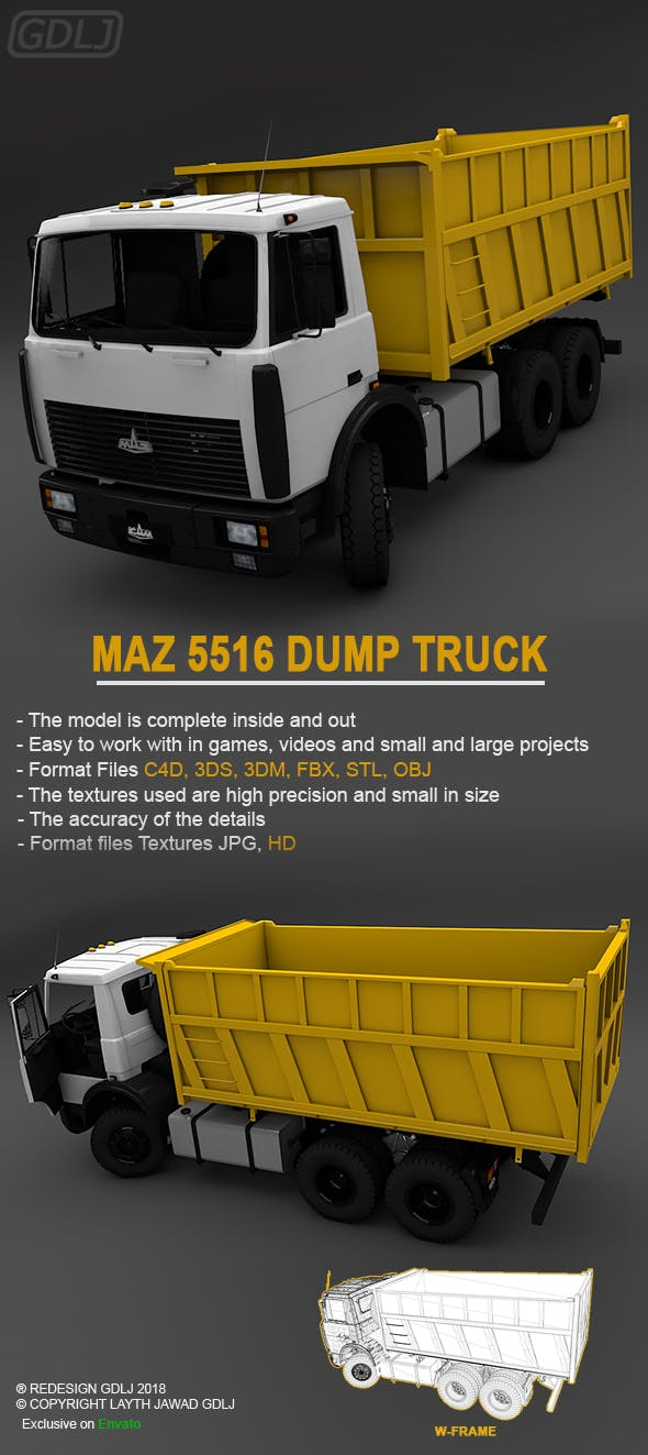 MAZ 5516 dump truck - 3DOcean Item for Sale