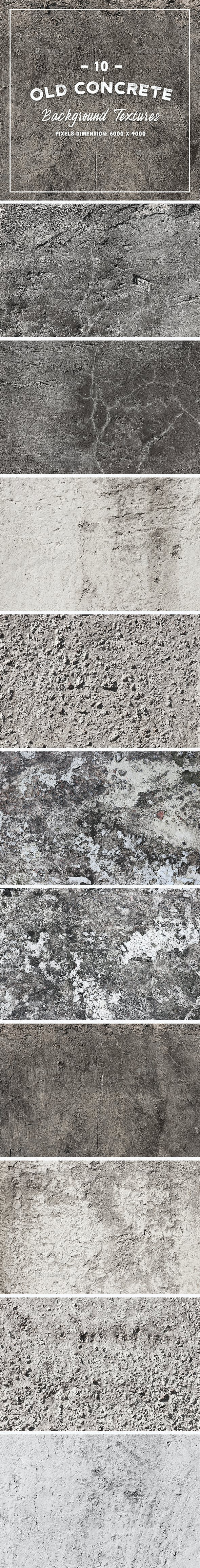 10 Old Concrete Background Textures - 3DOcean Item for Sale