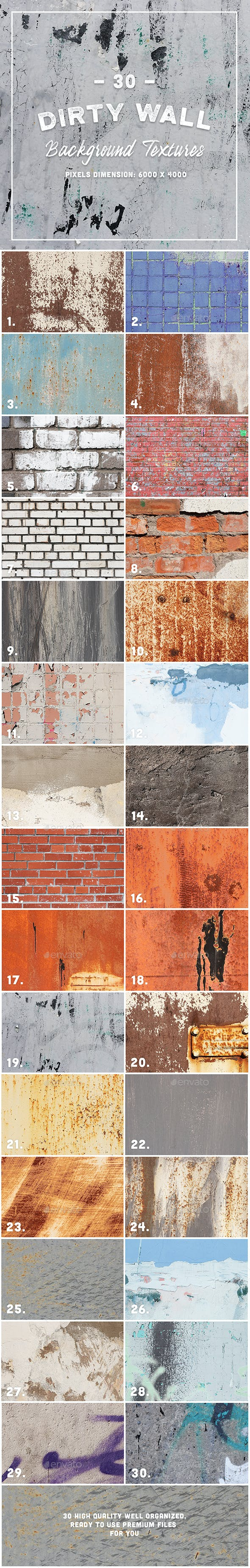 30 Dirty Wall Background Textures - 3DOcean Item for Sale