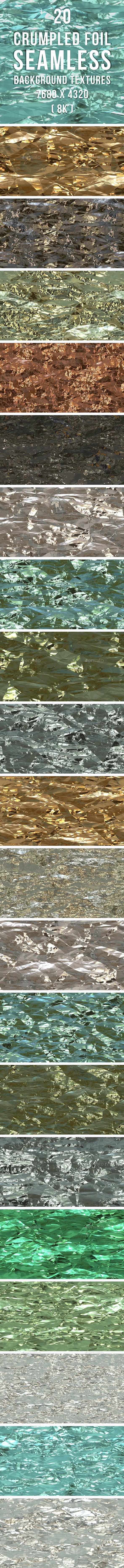 20 Crumpled Foil Background Textures - 3DOcean Item for Sale