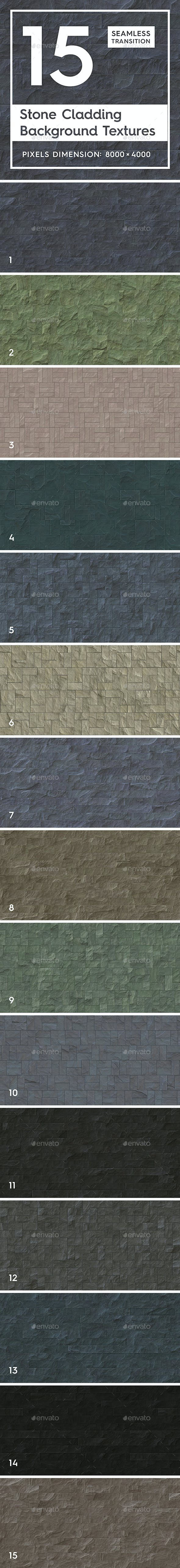 15 Seamless Stone Cladding Textures - 3DOcean Item for Sale