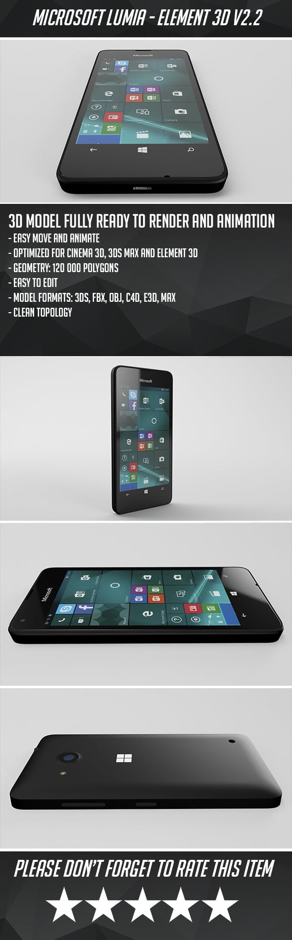 Microsoft Lumia 550 - Element 3D - 3DOcean Item for Sale