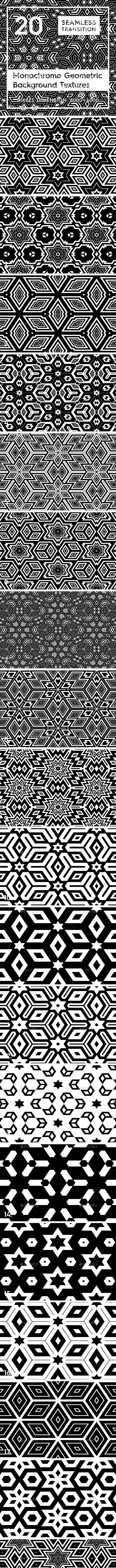 20 Monochrome Geometric Backgrounds - 3DOcean Item for Sale
