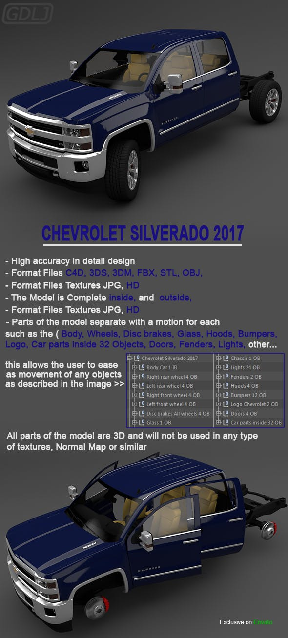 Chevrolet Silverado 2017 - 3DOcean Item for Sale