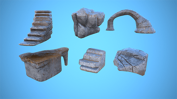 Stylized modular Rock set vol.01 - 3DOcean Item for Sale