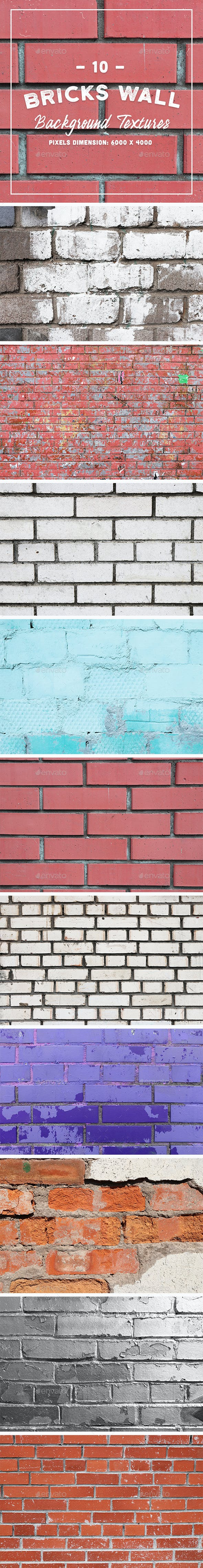 10 Bricks Wall Background Textures - 3DOcean Item for Sale