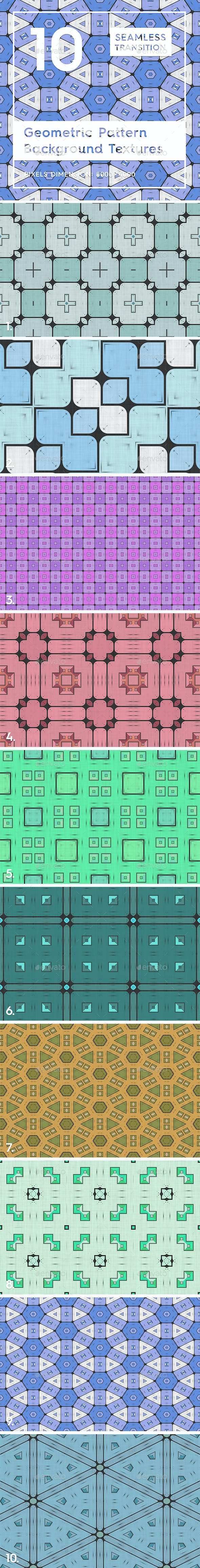 10 Geometric Pattern Backgrounds - 3DOcean Item for Sale