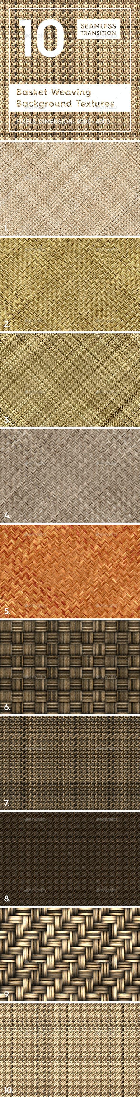 10 Basket Weaving Background Textures - 3DOcean Item for Sale