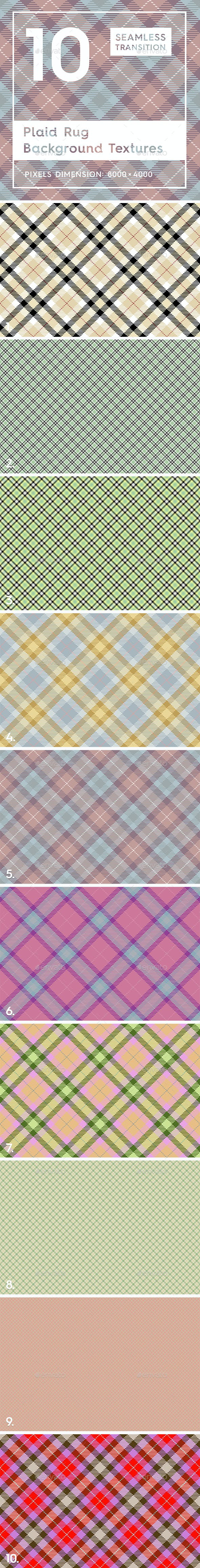 10 Plaid Rug Background Textures - 3DOcean Item for Sale