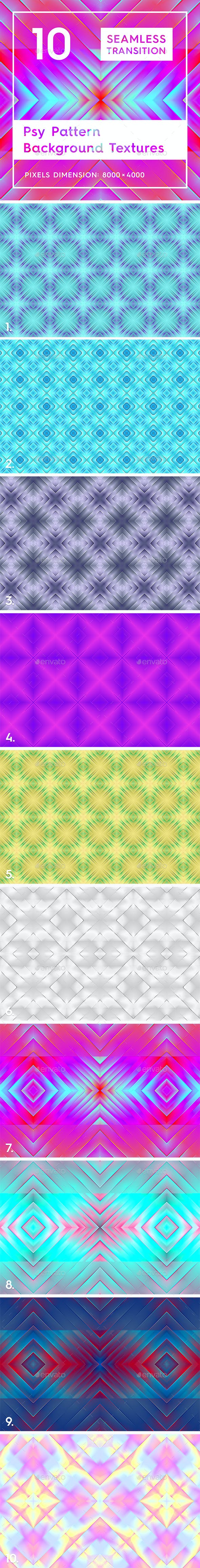 10 Psy Pattern Background Textures - 3DOcean Item for Sale