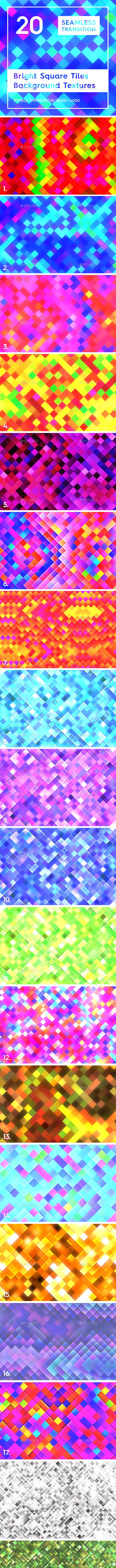 20 Bright Square Tiles Backgrounds - 3DOcean Item for Sale