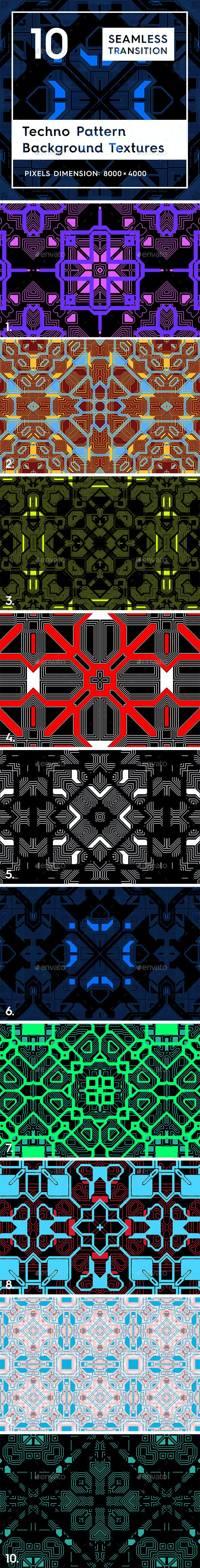 10 Techno Pattern Backgrounds - 3DOcean Item for Sale