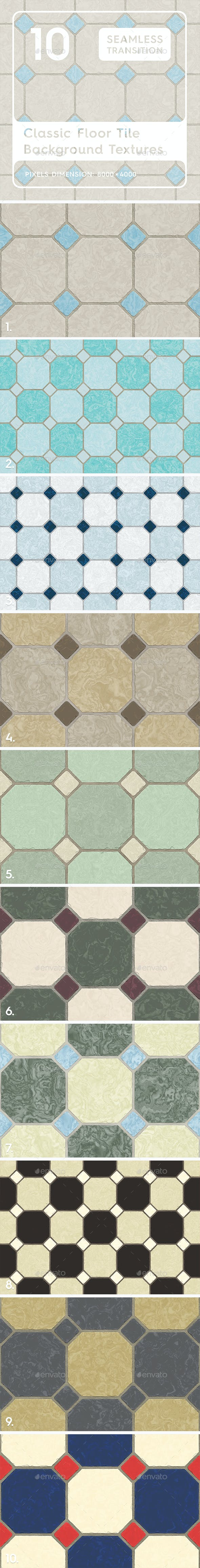 10 Classic Floor Tile Textures - 3DOcean Item for Sale