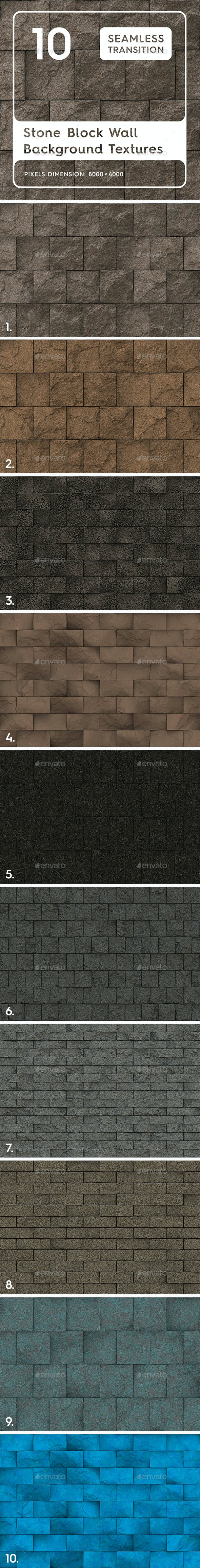 10 Stone Block Wall Textures - 3DOcean Item for Sale