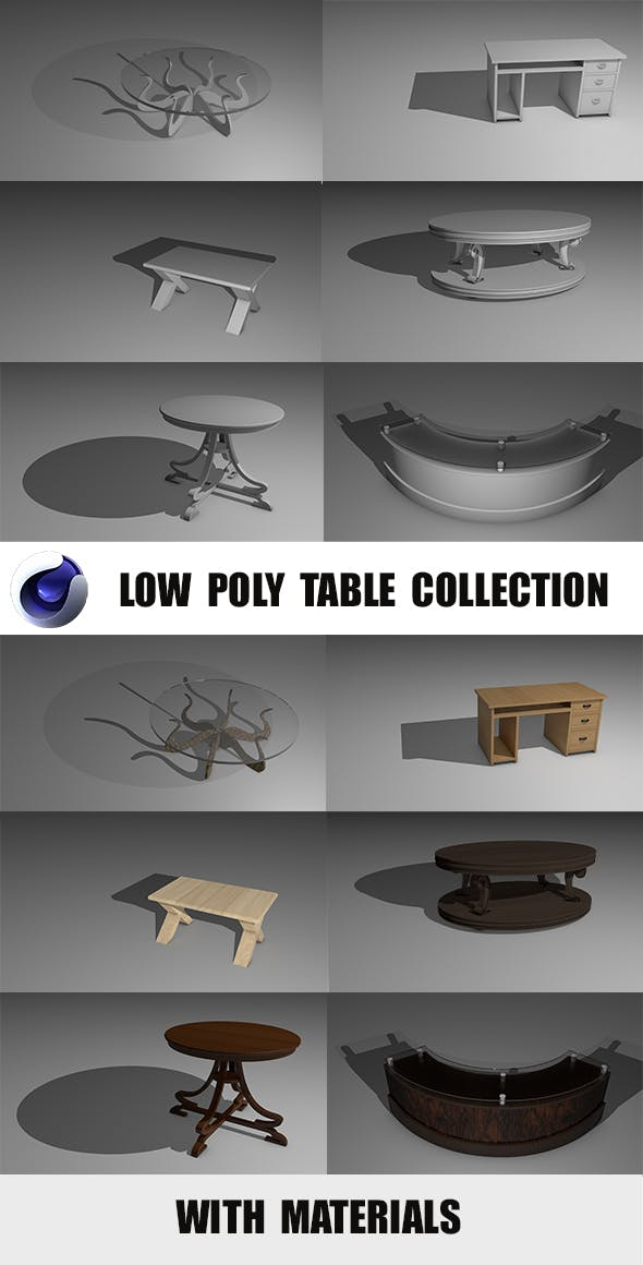 Low Poly Table Collection - 3DOcean Item for Sale