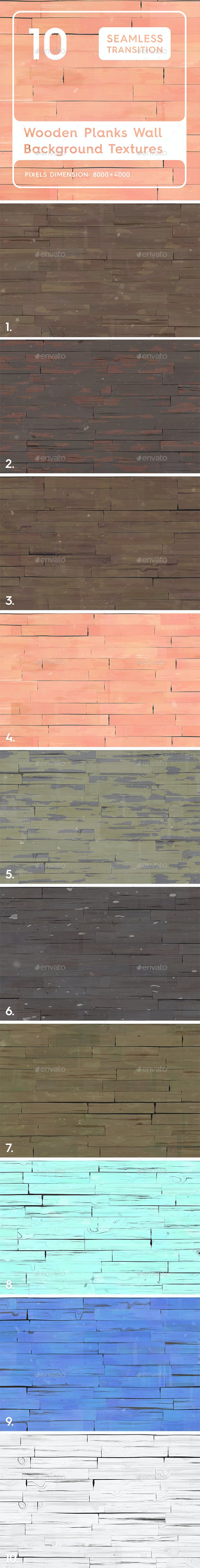 10 Wooden Planks Wall Backgrounds - 3DOcean Item for Sale