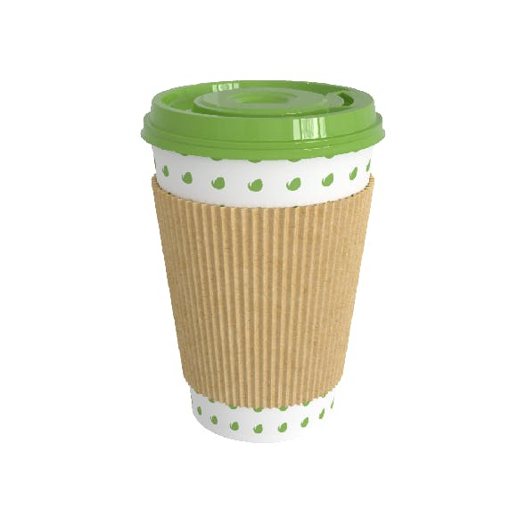 Paper Coffee Cup with a lid and a cover