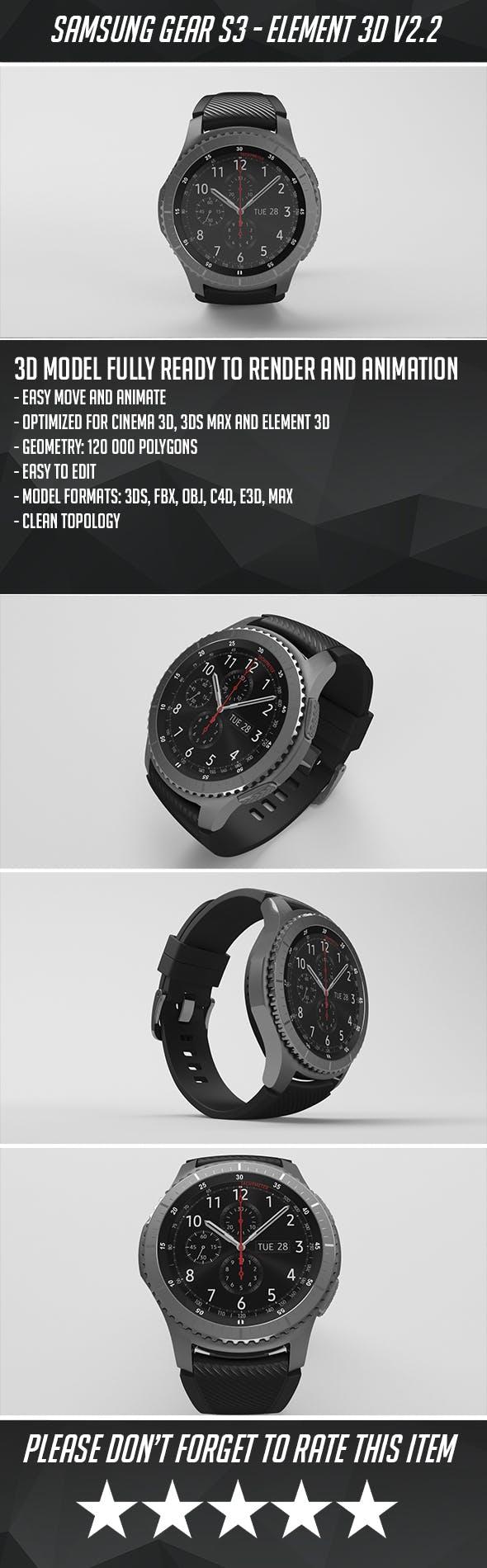 Samsung Gear S3 Frontier - Element 3D - 3DOcean Item for Sale