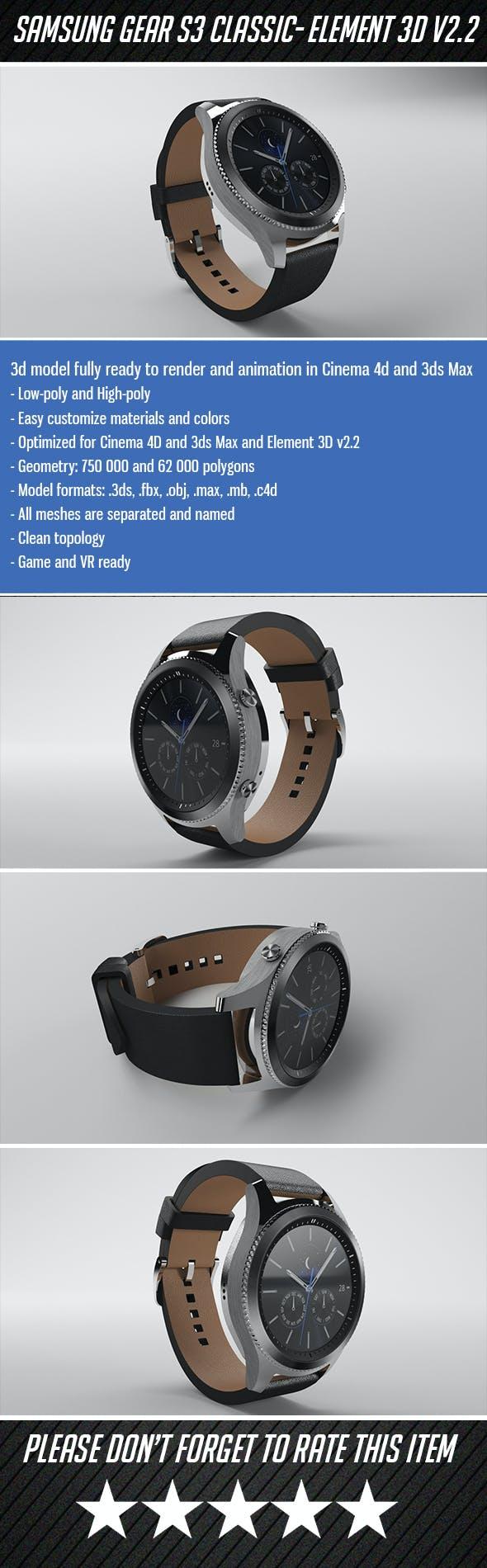 Samsung Gear S3 Classic - Element 3D - 3DOcean Item for Sale