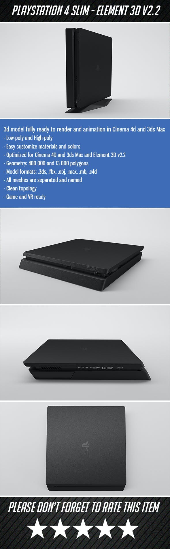 Sony Playstation 4 Slim - Element 3D - 3DOcean Item for Sale