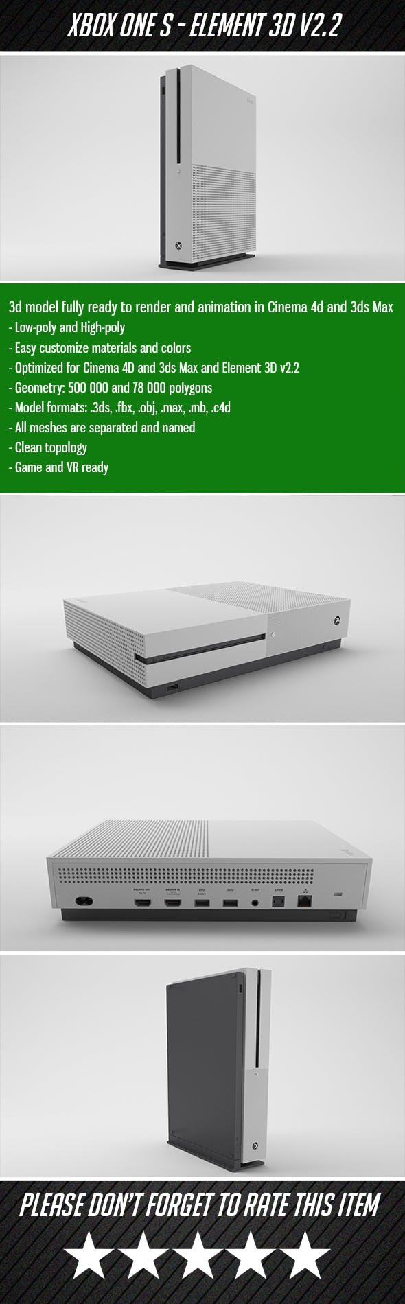 XBOX One S - Element 3D - 3DOcean Item for Sale