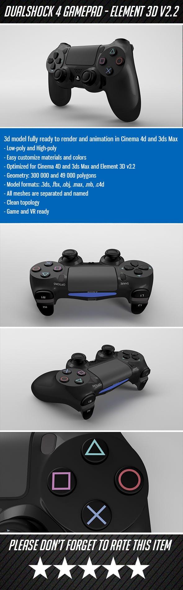 Dualshock 4 - Element 3D - 3DOcean Item for Sale